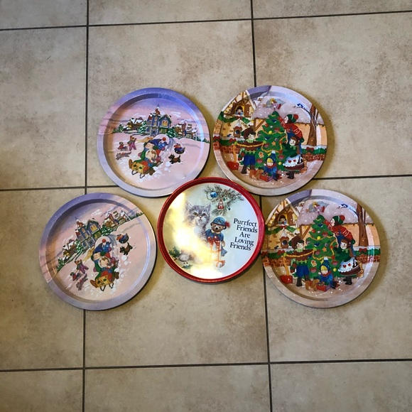 Vintage Christmas Round Metal Tray Lot 12.5 inch 9